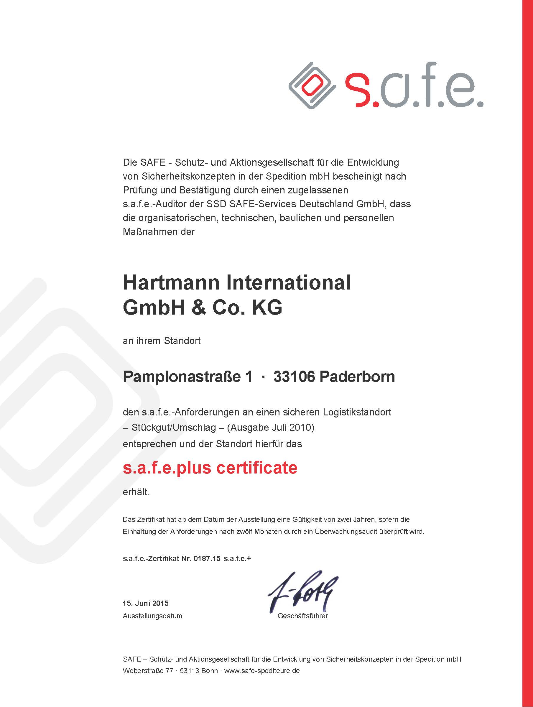 safe plus Hartmann Pamplonastr. 2015 SU