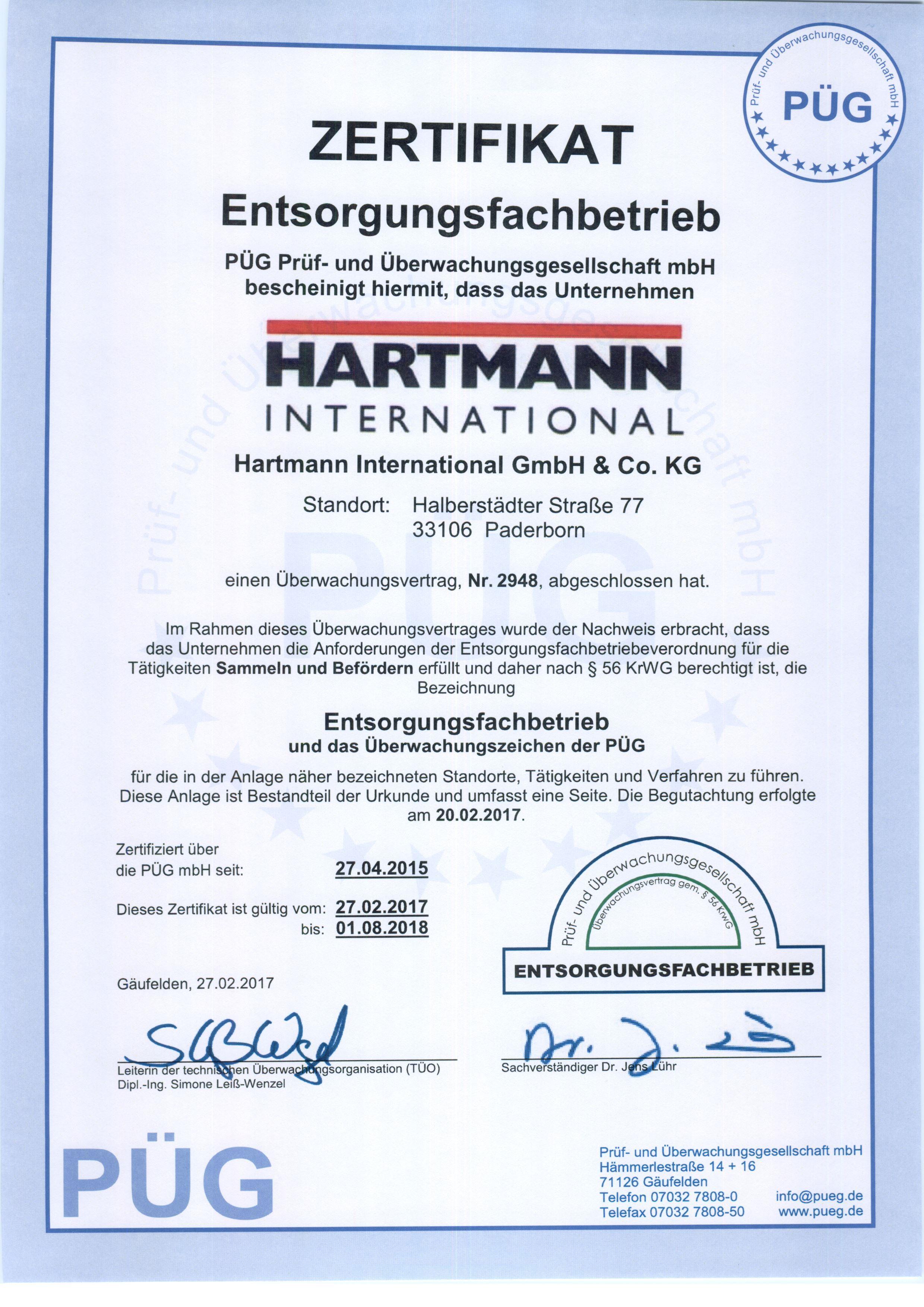 Qualität und Umwelt   Hartmann International › Hartmann International