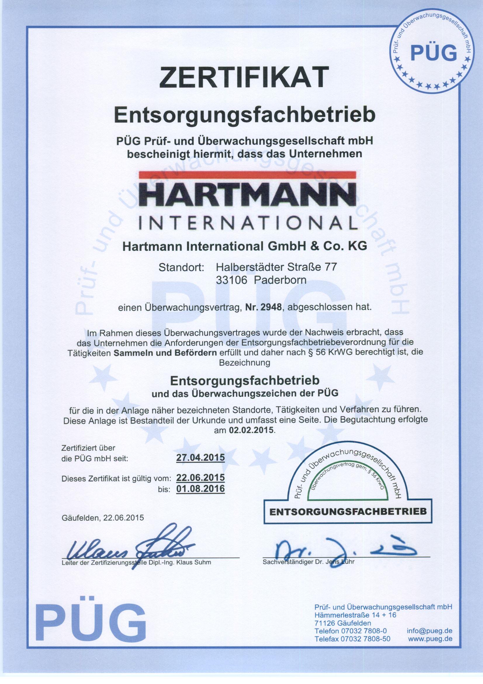 EfB Zertifikat